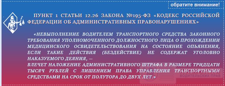 Закон №195-ФЗ статья 12.26 ч.1