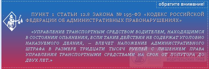 Закон №195-ФЗ статья 12.8 ч.1
