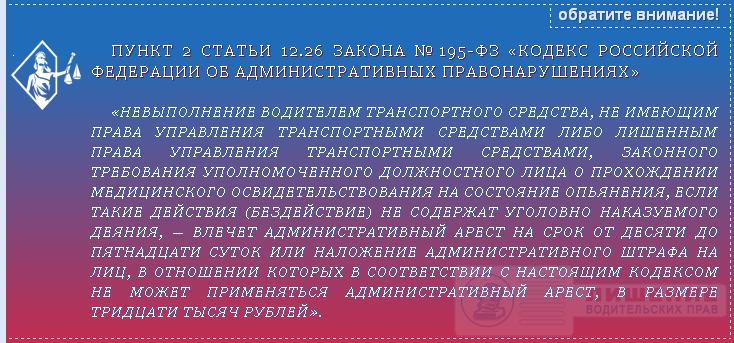 Закон №195-ФЗ статья 12.26 ч.2