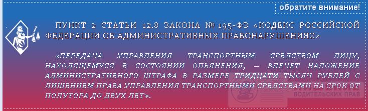 Закон №195-ФЗ статья 12.8 ч.2