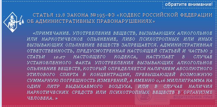 Закон №195-ФЗ статья 12.8