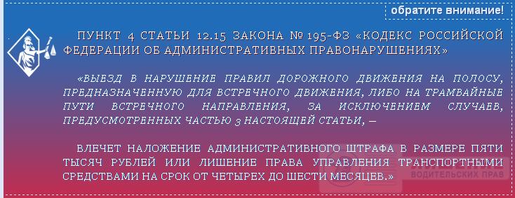 Закон №195-ФЗ статья 12.15 часть 4