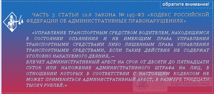 Закон №195-ФЗ статья 12.8 часть 3